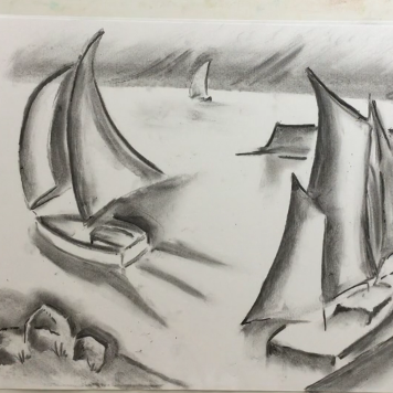 April - Week Three - Charcoal (boating scene), kneadable eraser + drawing paper