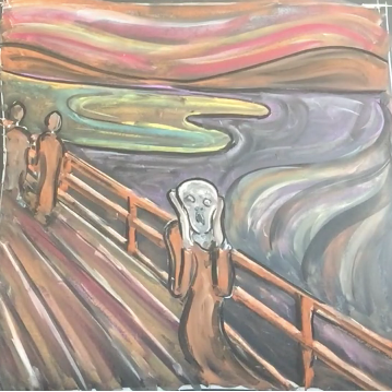 May - Week One - Chalk + blackboard or black paper (Edvard Munch)