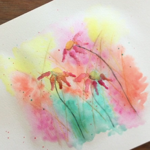 May - Week Two - Watercolor pencils + crayons, dry watercolor paints, paper, etc.