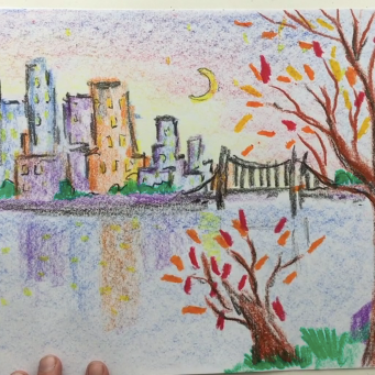May - Week Three - Crayons (block and stick) + paper cityscape
