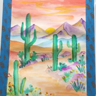 August- Week One - Watercolor desert (dry paints & paper)