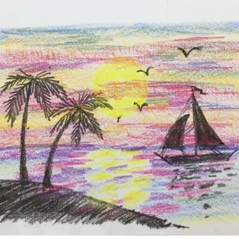 August- Week Two - Crayons, drawing paper (seascape)