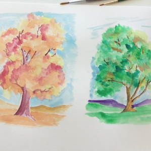 Sept - Week Two - dry/hard watercolor paints & paper
