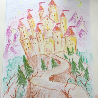 Sept - Week Three - Block crayon castle, drawing paper.