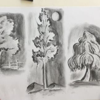 October - Week One - Charcoal, kneadable eraser & drawing paper