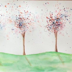 October - Week Two - Watercolor crayon & pencil exercise.