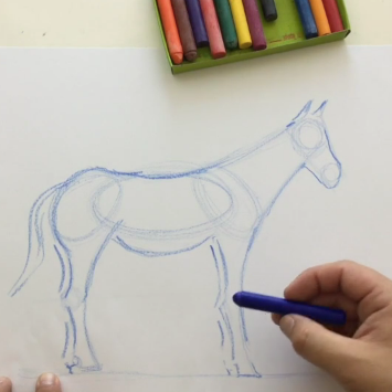 Lesson Thirteen - crayons & paper (animals - horse, cat, bear)