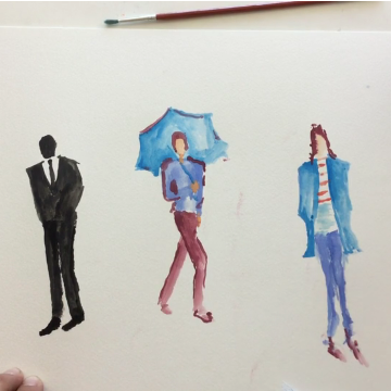Lesson Fourteen - dry/hard watercolor paints + paper, chalk or crayon (figure drawing)
