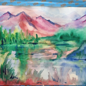 Lesson Seventeen- Wet on wet (liquid watercolors, paper, brushes, etc)