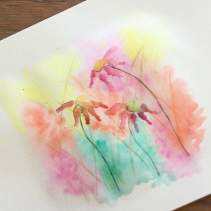 January - Week One - Watercolor pencils + crayons, dry watercolor paints, paper