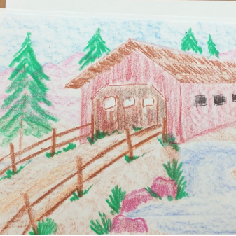 January - Week Two - Crayons & paper (covered bridge landscape)