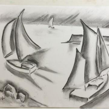 January - Week Three - Charcoal (boating scene), kneadable eraser + drawing paper