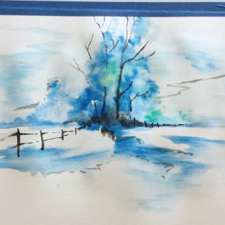 Lesson Twenty-two: Watercolor (winter landscape) Dry paints