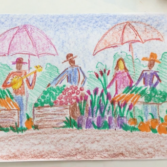 Lesson Twenty-three: Stick + block crayon farmers market w/figures on drawing paper