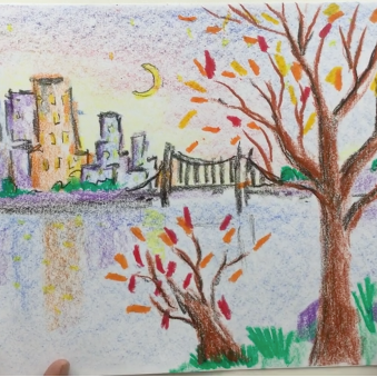 Feb - Week Four - Crayons + paper cityscape