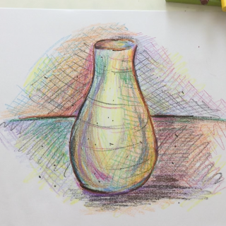 March - Week Three - Stick crayon still-life on drawing paper