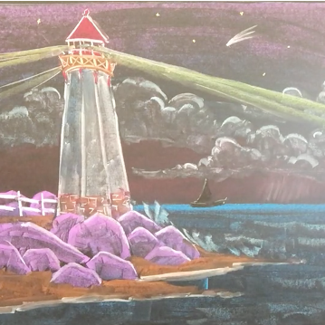 March - Week Four - Chalk/pastel on chalkboard or black paper - Lighthouse