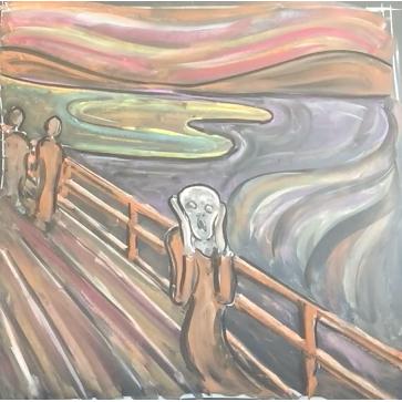 April - Week Four - Chalk + blackboard or black paper (Edvard Munch)