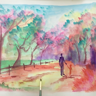 May- Week One - Dry/hard watercolor paint + paper. (Figures in a landscape)