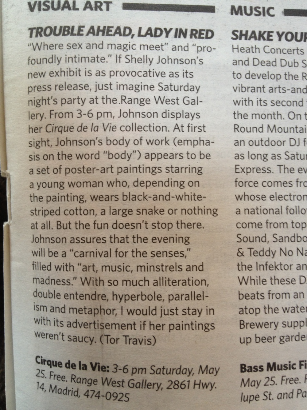 review for 'cirque de la vie' show at range west gallery in 'the reporter' 2013