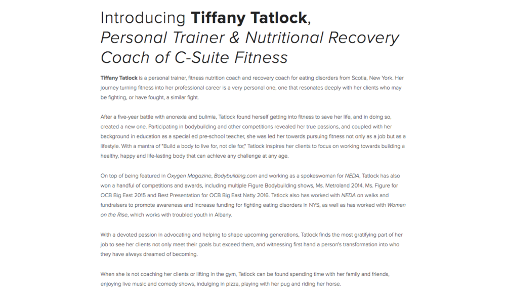 Bio for personal trainer Tiffany Tatlock.