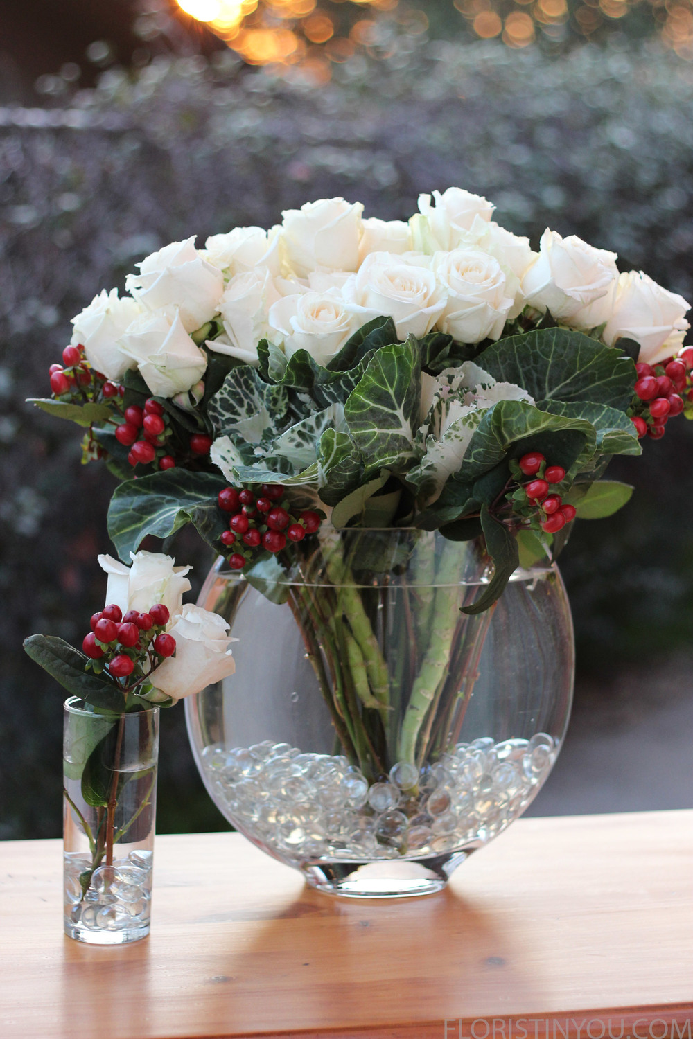 White Winter Roses Coffee Beans Floristinyou
