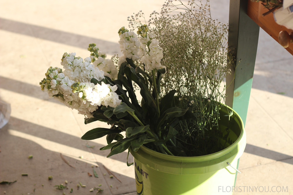 Put flower bunches into buckets filled  half way up with water.