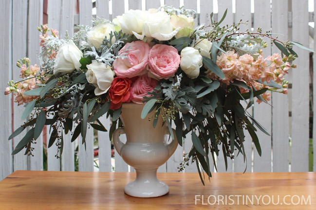 "Fill in with 'Garden Spirit' roses 9.5 - 11"".  Add bright rose in front."