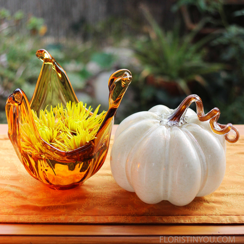 Amber Vase and the White Glass Pumpkin