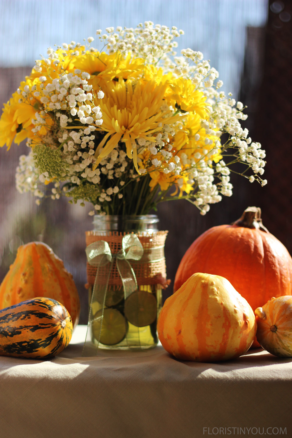 Add some decorative gourds and a pie pumpkin and it looks like Fall.