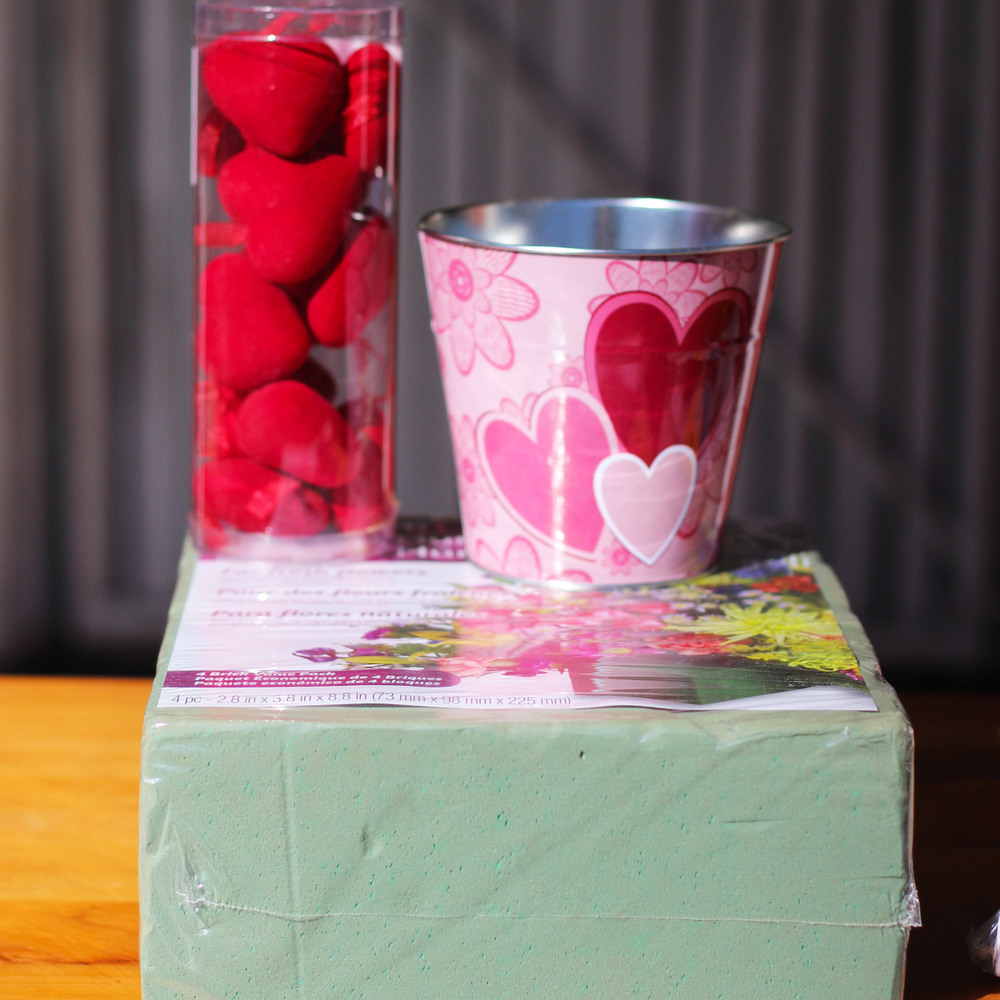 "Supplies needed: 2"" hearts, Valentine's bucket, only 1/2 brick of wet pack floral foam."