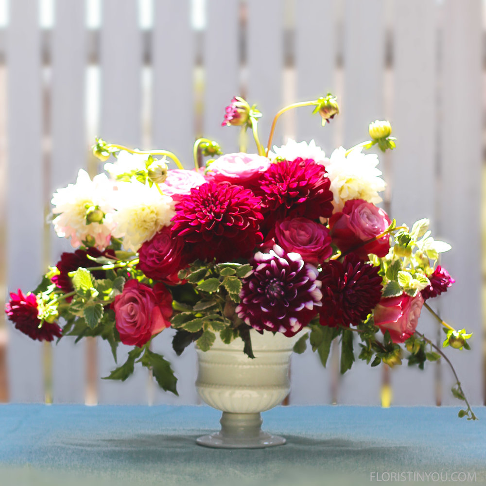 Dahlias and roses flower arrangement floristinyou dahlias and roses flower arrangement izmirmasajfo
