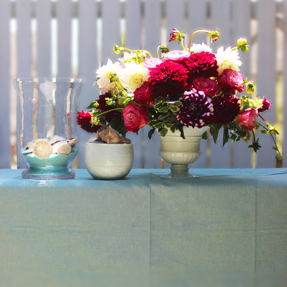 For a table setting, pair this with seashells and sea green sand in a hurricane lamp and a sea green table cloth.