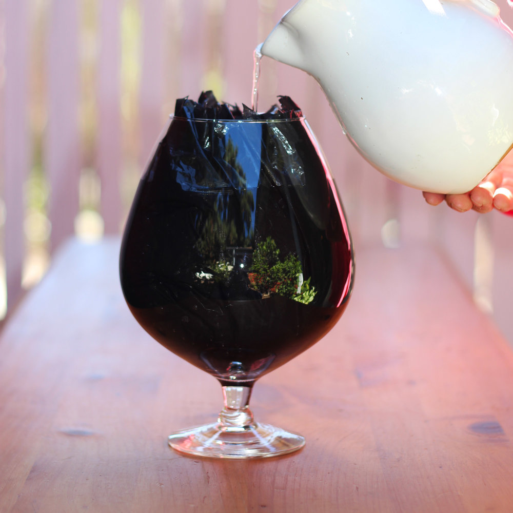 Press  end of  black garbage bag into large brandy snifter shaped glass vase.  Fill with water.