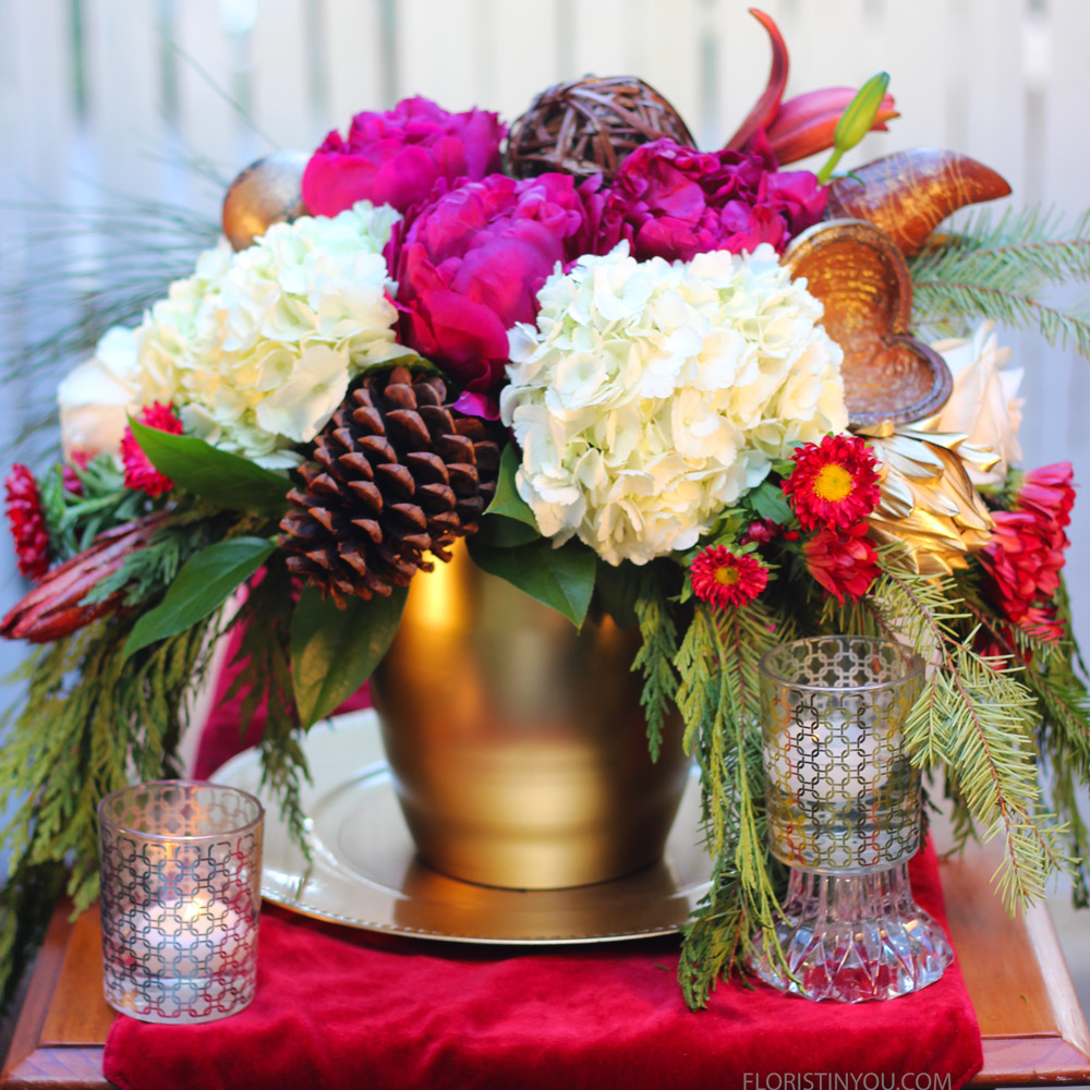 Winter Arrangement with Peonies and Hydrangeas