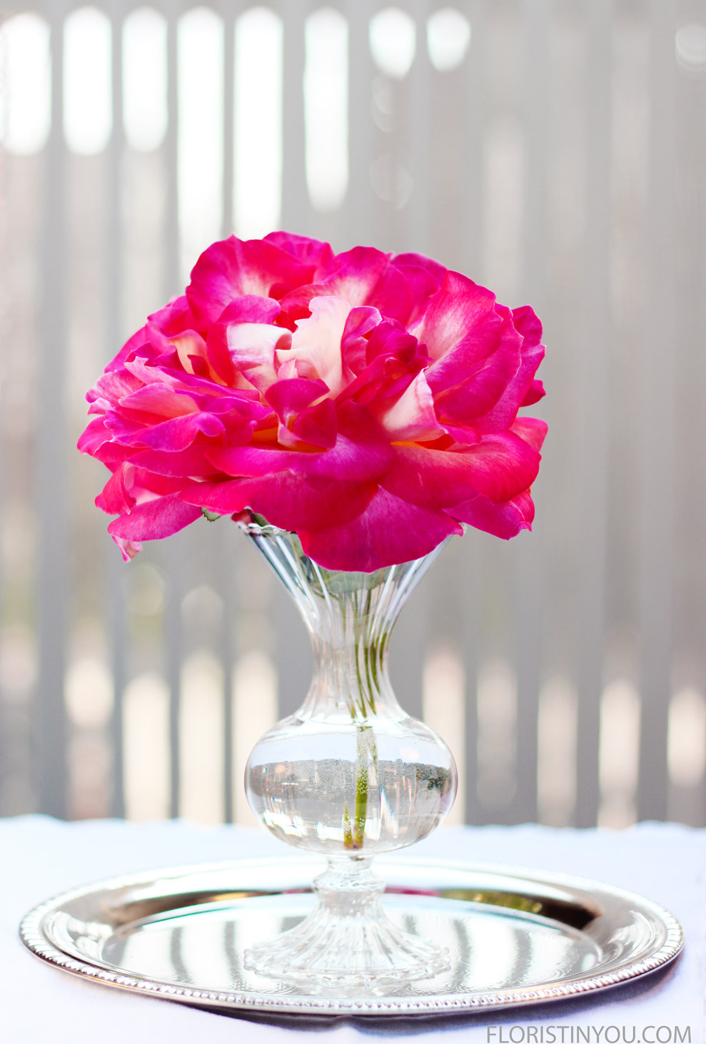 Put the rose in the bud vase, and put them on a silver tray. This tray is 9.75 inches Diam.