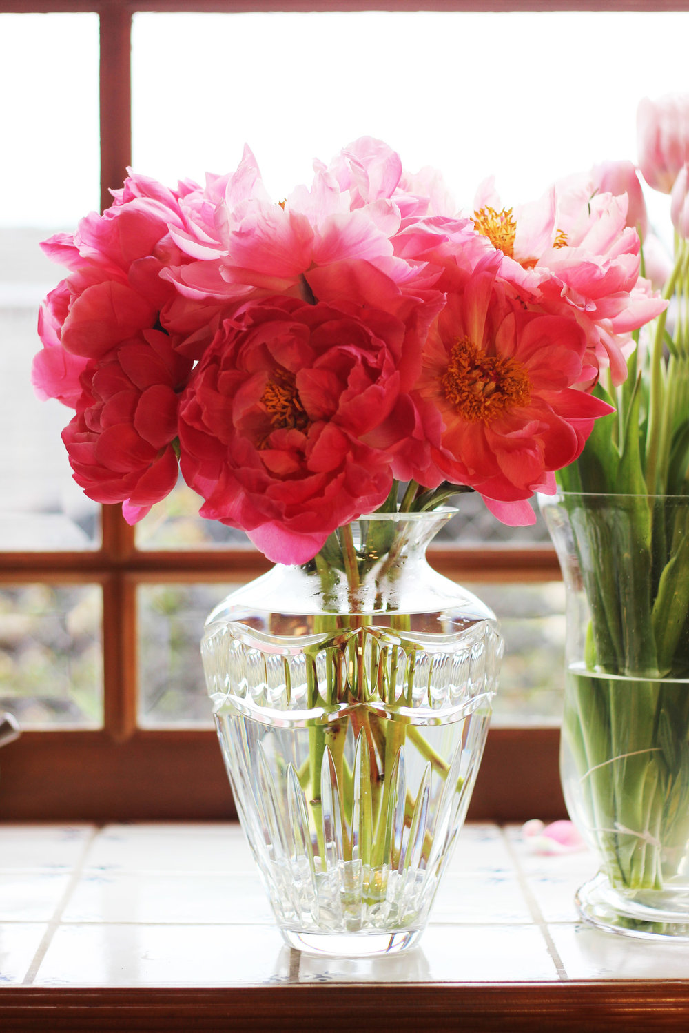 Put peonies on left and right of lower center peony.  (Cut them 13.5 inches) Repeat for back.