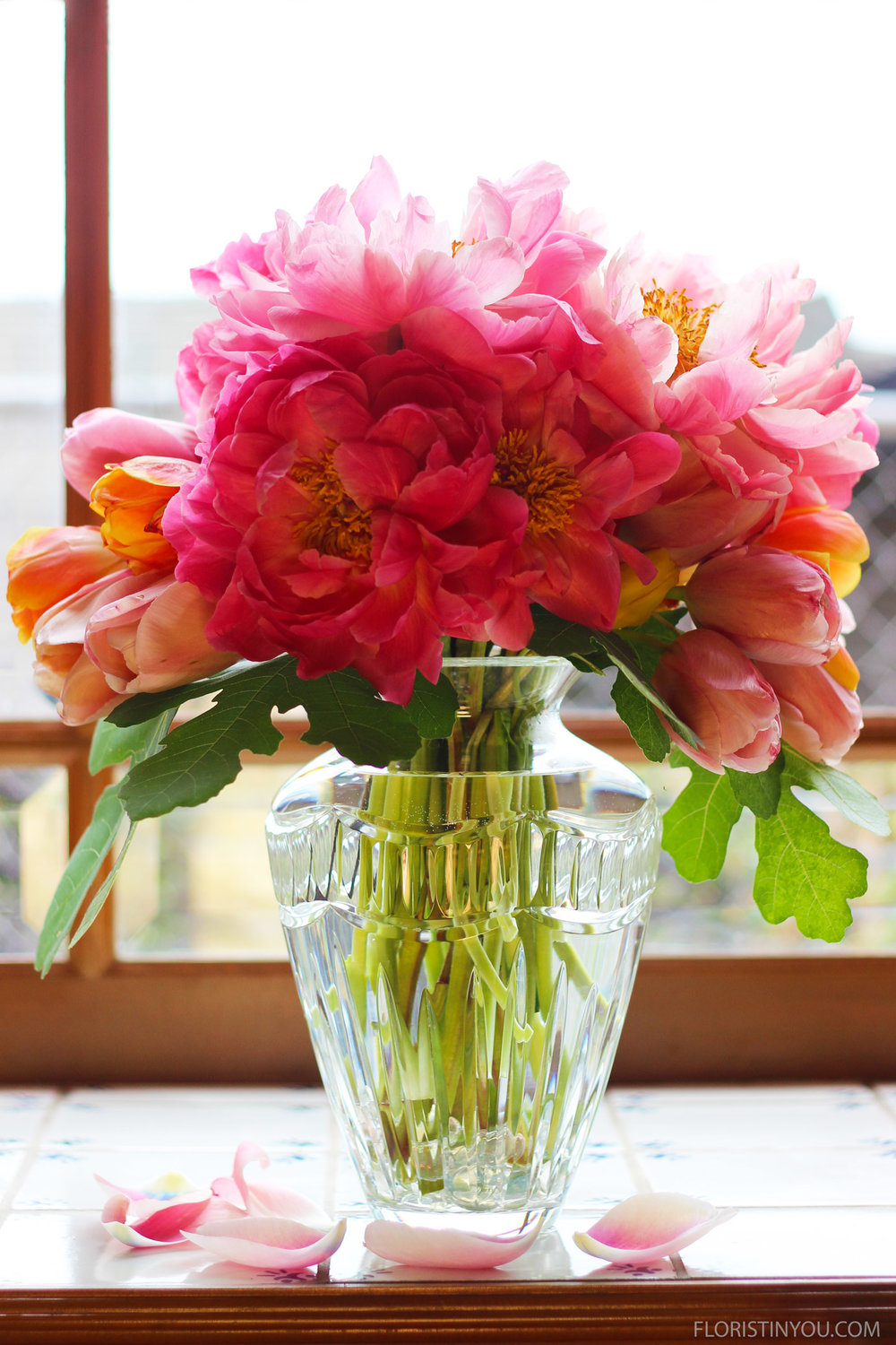 Peonies Tulips and Fig Leaves