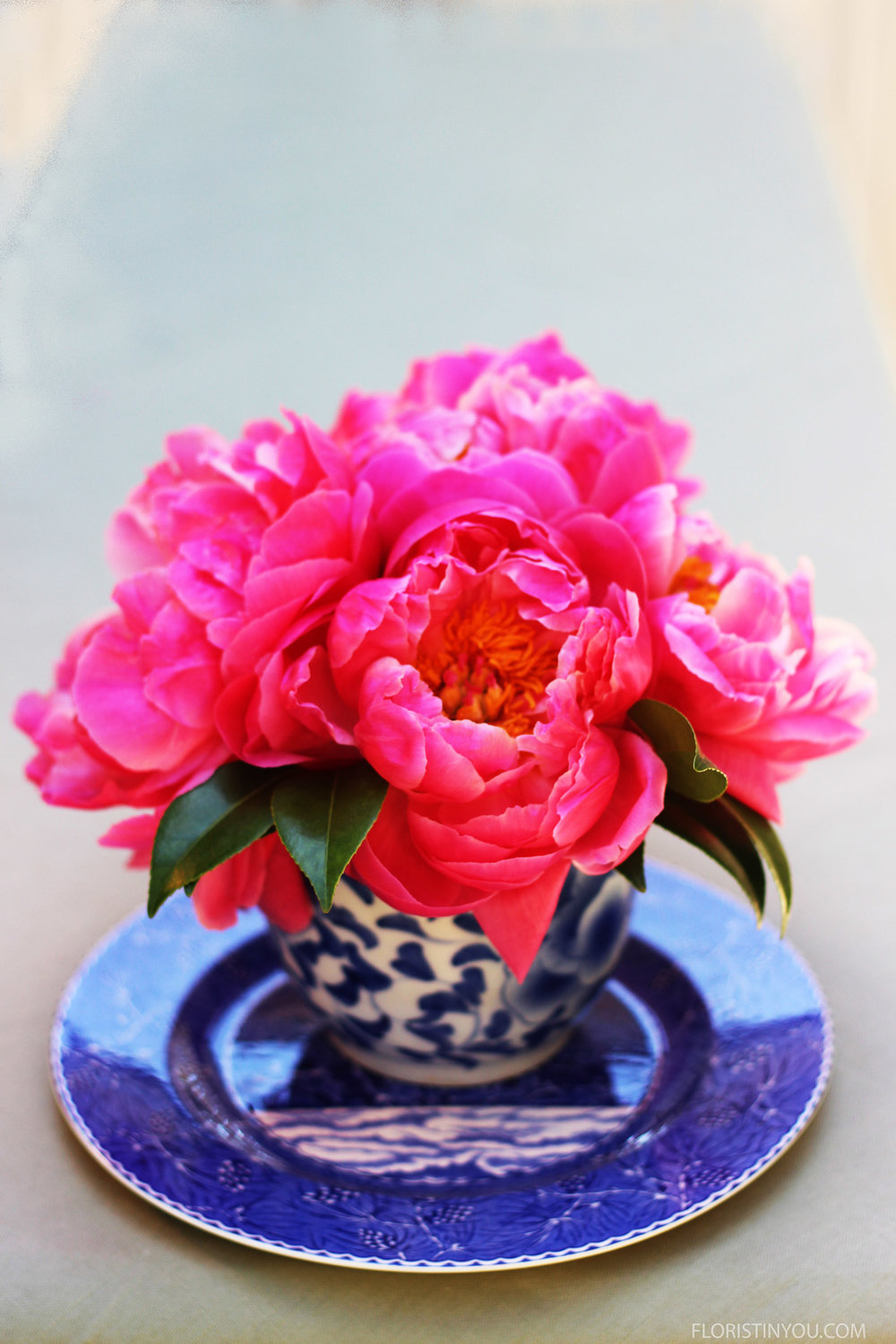 Welcome Summer with Peonies in Blue and White Porcelain