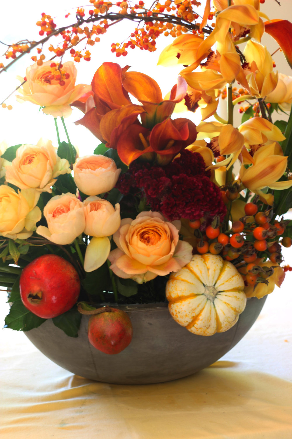 Add orange Rose Hips to right, low.  Mirror in back.  Add pumpkin front and back.