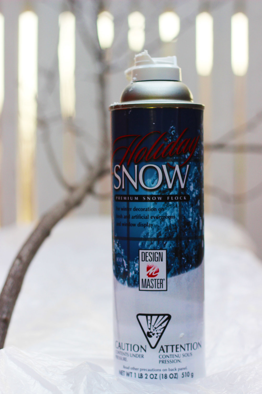 Use Design Master snow to spray branches.