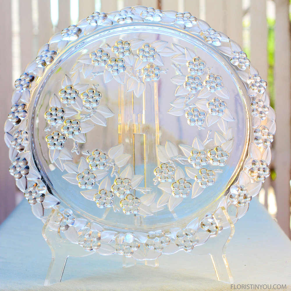 You will start with an 11 inch crystal or glass plate.