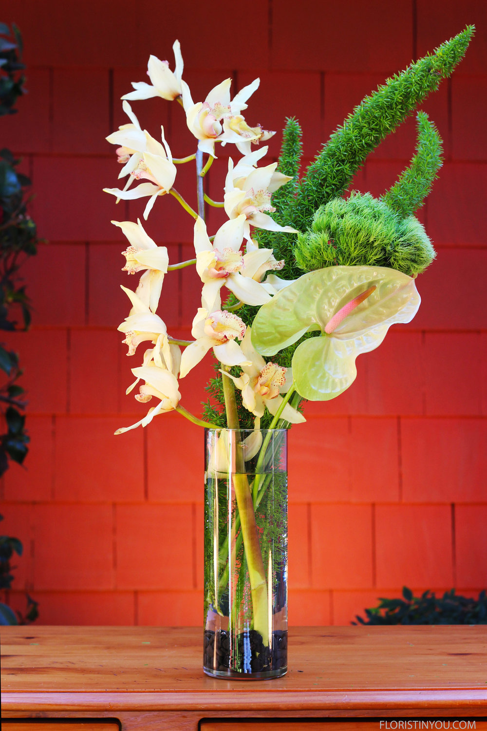 Add 1 Anthurium in front of Green Ball Dianthus.