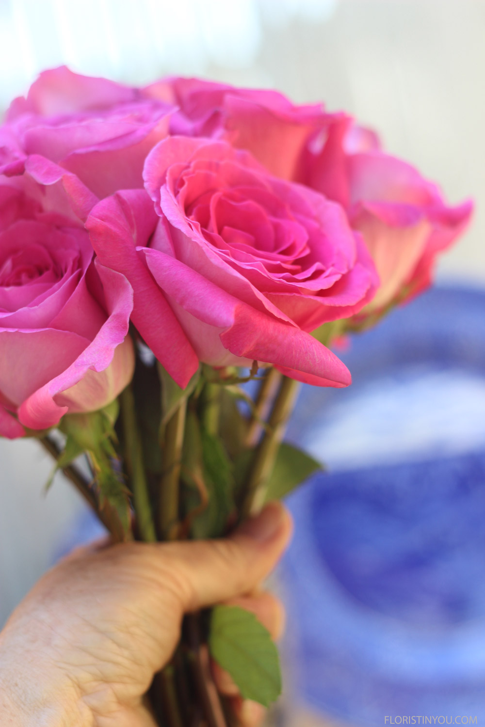 Start by making hand held bouquet of roses.