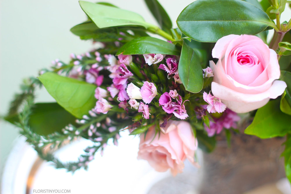 Close ups of Veronica, Gypsy Dianthus, and Roses.