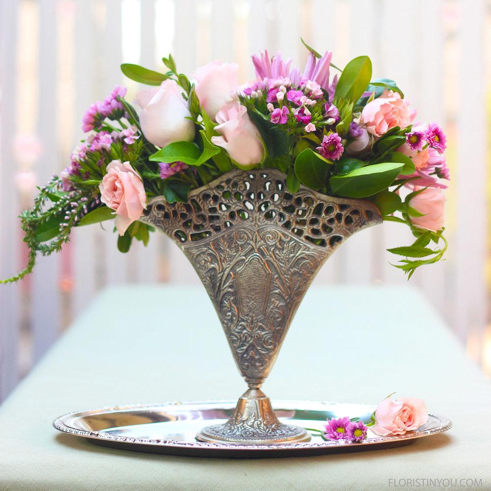 Vintage Fan Vase with a Petite Bouquet