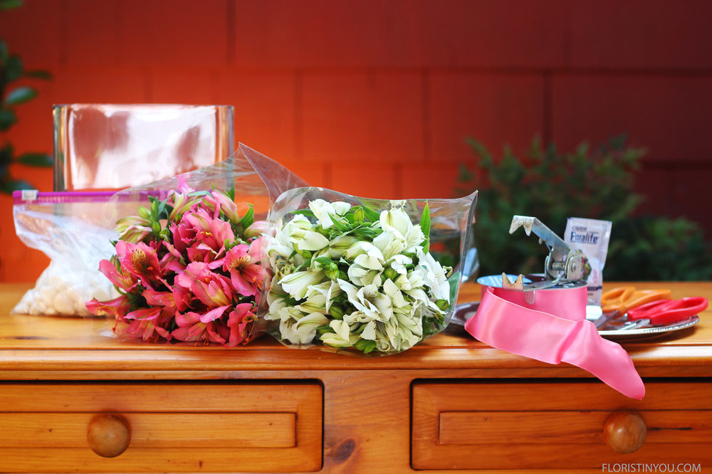 Here are you flowers and materials.