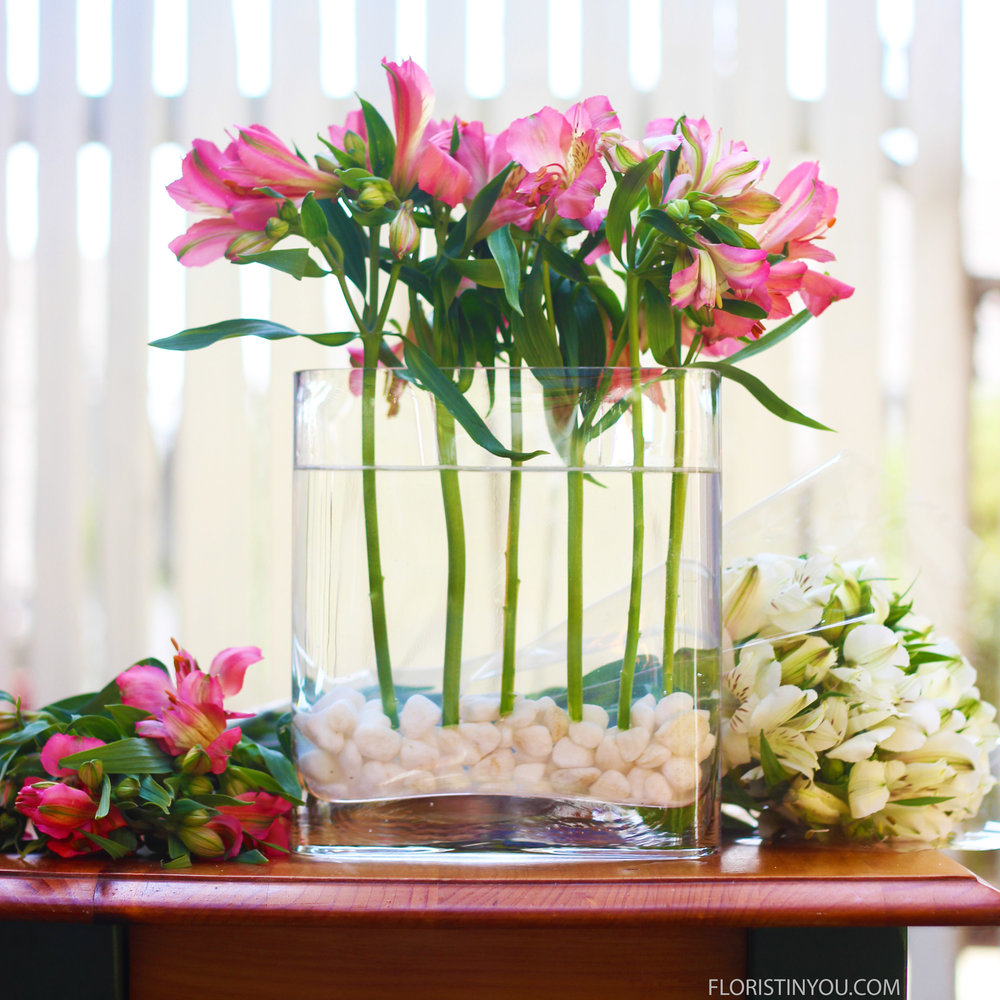 Insert six pink stems cut at 10.5. Keep stems going straight down.