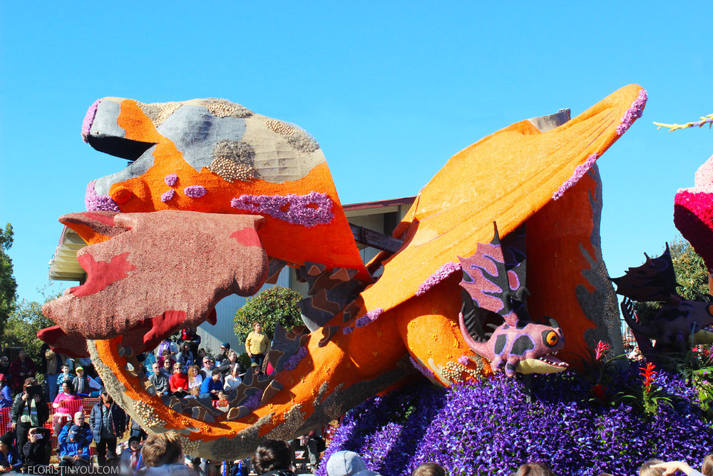 This float used over 5,000 roses, 8,000 carnations & thousands of orchids and mums.