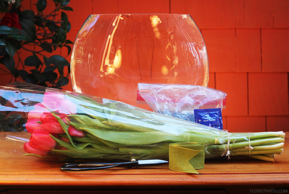 Here are you long stem tulips and materials.